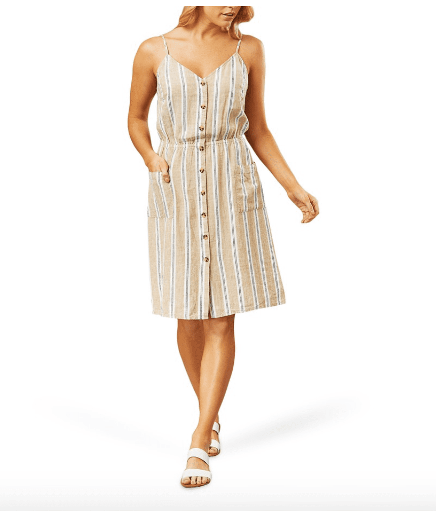 Big W Striped Linen Dress