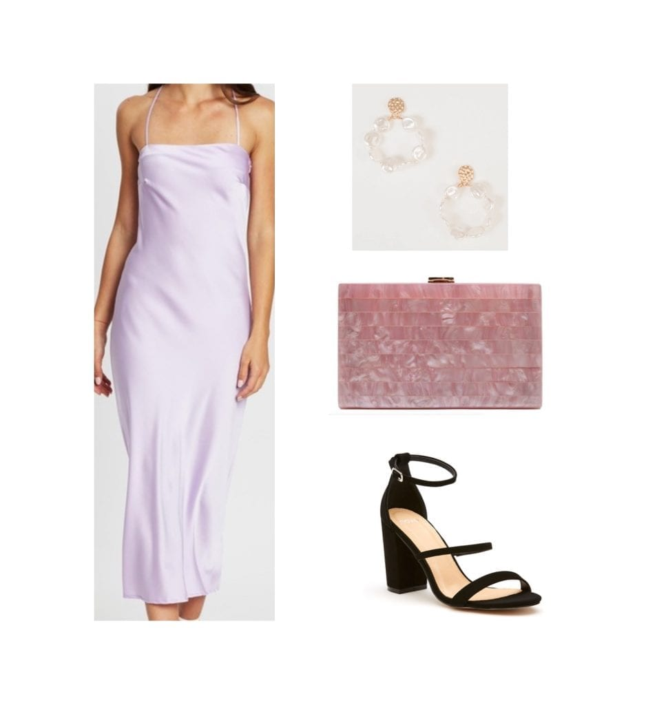 outfit idea featuring a slip dress