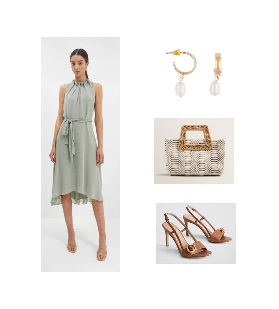 summer wedding outfit idea featuring neutral tones
