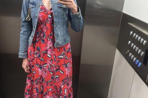me wearing my denim jacket from target