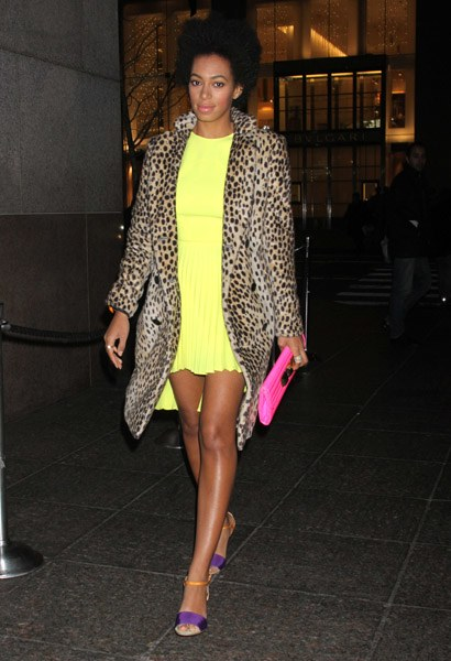 solagne knowles wearing leopard print