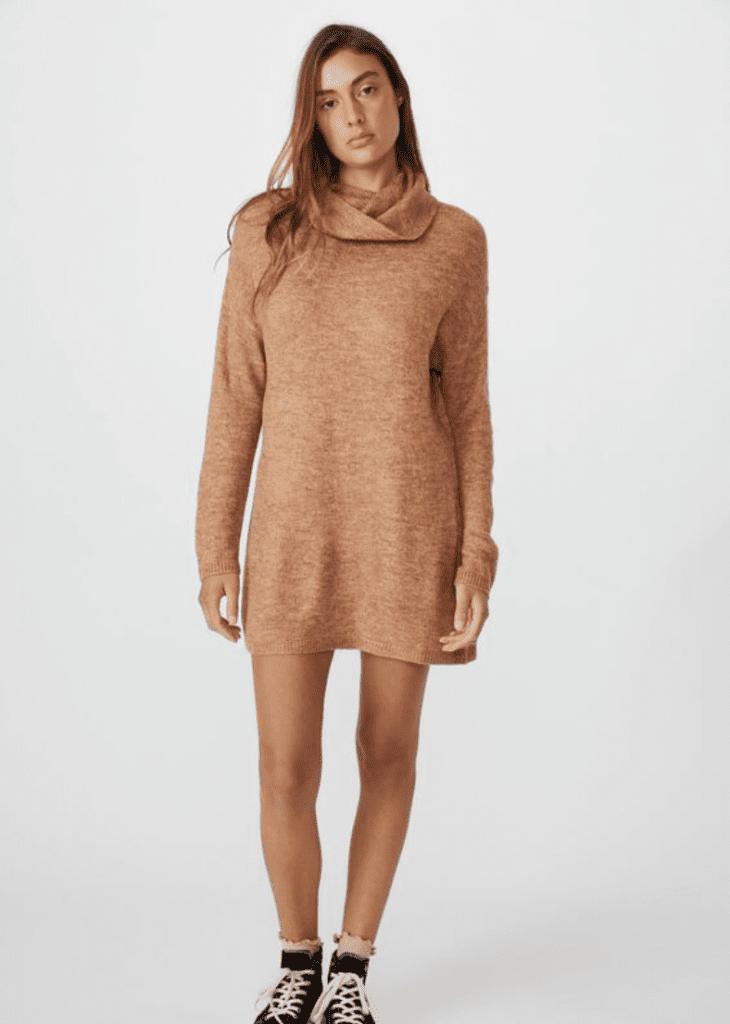 Cotton On Juliette Roll Neck Knit Mini Dress