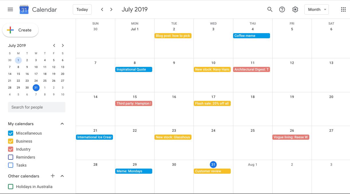 Example social calendar